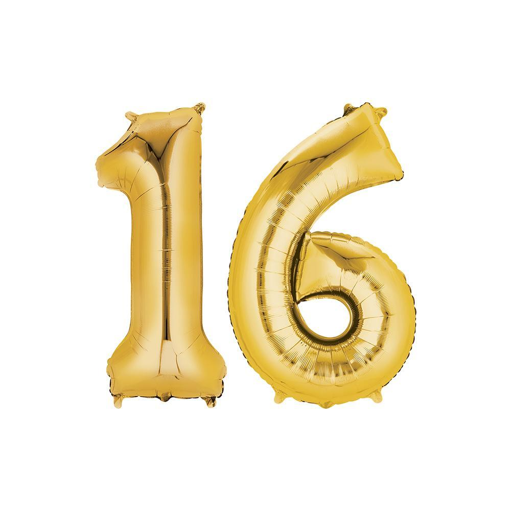 16 Year Old Gold Foil Balloon Birthday T-Shirt 16 in.