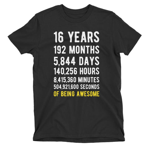16 Years of Being Awesome Birthday T-Shirt Black / Adult S