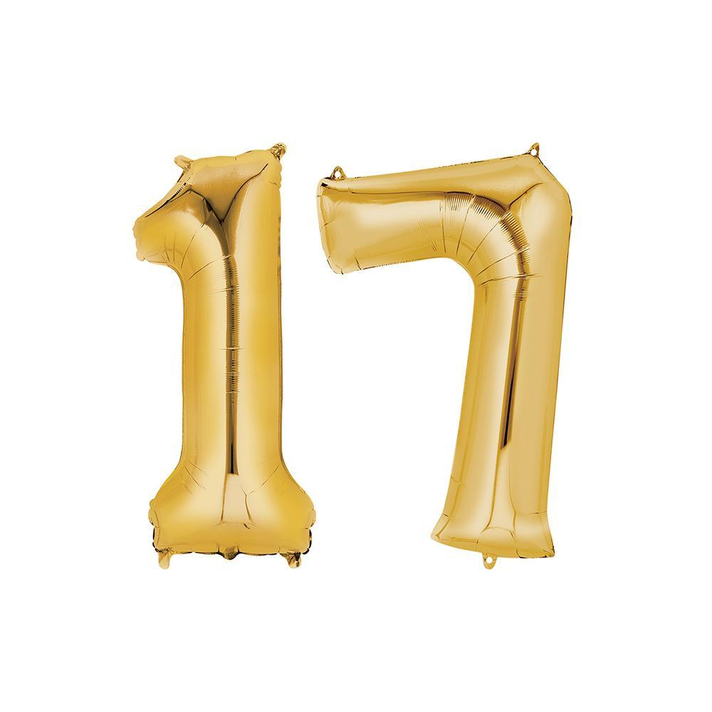 17 Year Old Gold Foil Balloon Birthday T-Shirt 16 in.