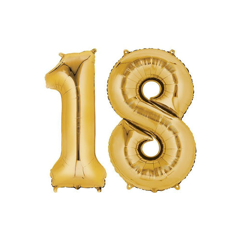 18 Year Old Gold Foil Balloon Birthday T-Shirt 16 in.