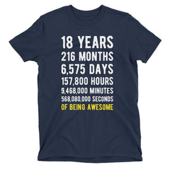 18 Years of Being Awesome Birthday T-Shirt Navy / Adult S