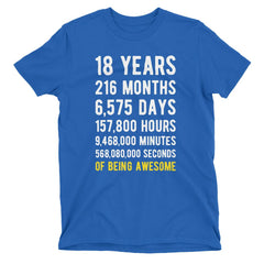 18 Years of Being Awesome Birthday T-Shirt Royal Blue / Adult S