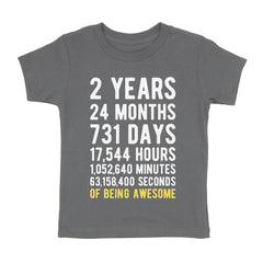 2 Years of Being Awesome Birthday T-Shirt Asphalt / 2T