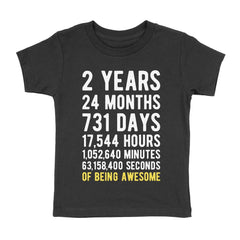2 Years of Being Awesome Birthday T-Shirt Black / 2T