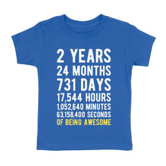 2 Years of Being Awesome Birthday T-Shirt Royal Blue / 2T