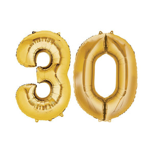 30 Year Old Gold Foil Balloon Birthday T-Shirt 16 in.