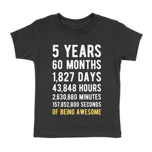 5 Years of Being Awesome Birthday T-Shirt Black / 4T