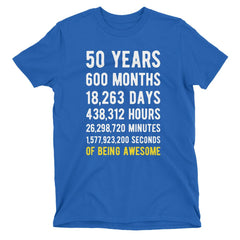 50 Years of Being Awesome Birthday T-Shirt Royal Blue / Adult S