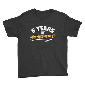 6 Years of Awesomeness Birthday T-Shirt Black / Youth XS