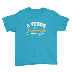 6 Years of Awesomeness Birthday T-Shirt Caribbean Blue / Youth XS