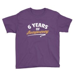 6 Years of Awesomeness Birthday T-Shirt Purple / Youth XS