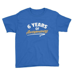 6 Years of Awesomeness Birthday T-Shirt Royal Blue / Youth XS