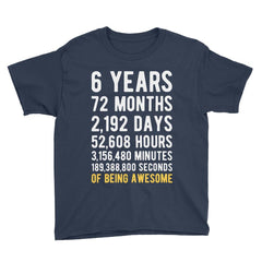 6 Years of Being Awesome Birthday T-Shirt Navy / Youth S