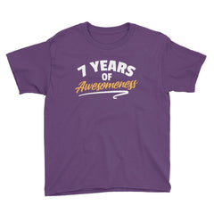 7 Years of Awesomeness Birthday T-Shirt Purple / Youth XS
