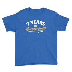 7 Years of Awesomeness Birthday T-Shirt Royal Blue / Youth XS
