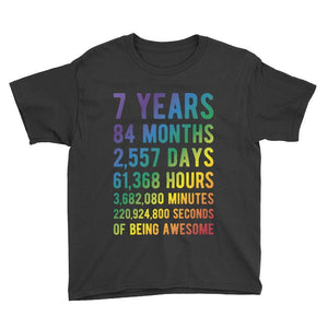 7 Years of Being Awesome - Rainbow Edition Birthday T-Shirt Black / Youth XS