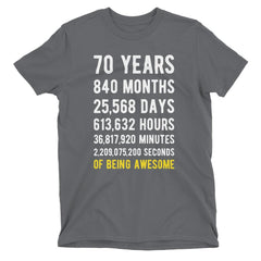 70 Years of Being Awesome Birthday T-Shirt Charcoal / Adult S