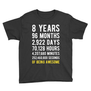 8 Years of Being Awesome Birthday T-Shirt Black / Youth S