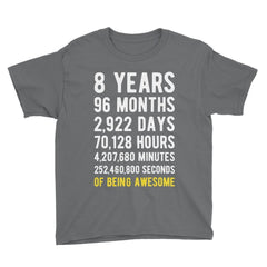 8 Years of Being Awesome Birthday T-Shirt Charcoal / Youth S