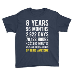 8 Years of Being Awesome Birthday T-Shirt Navy / Youth S