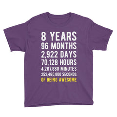 8 Years of Being Awesome Birthday T-Shirt Purple / Youth S