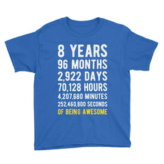 8 Years of Being Awesome Birthday T-Shirt Royal Blue / Youth S