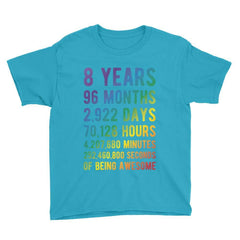 8 Years of Being Awesome - Rainbow Edition Birthday T-Shirt Caribbean Blue / Youth XS