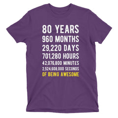 80 Years of Being Awesome Birthday T-Shirt Purple / Adult S
