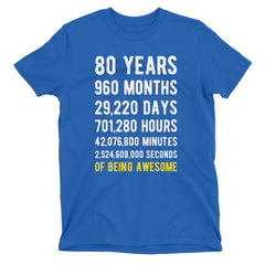 80 Years of Being Awesome Birthday T-Shirt Royal Blue / Adult S