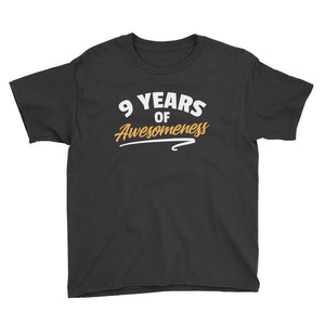 9 Years of Awesomeness Birthday T-Shirt Black / Youth XS