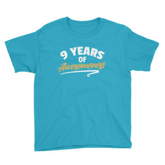 9 Years of Awesomeness Birthday T-Shirt Caribbean Blue / Youth XS