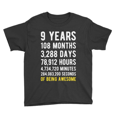 9 Years of Being Awesome Birthday T-Shirt Black / Youth S