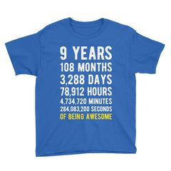 9 Years of Being Awesome Birthday T-Shirt Royal Blue / Youth S