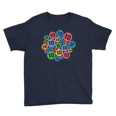 Colorful Bubbles - 10 Years Old Birthday T-Shirt Navy / Youth XS
