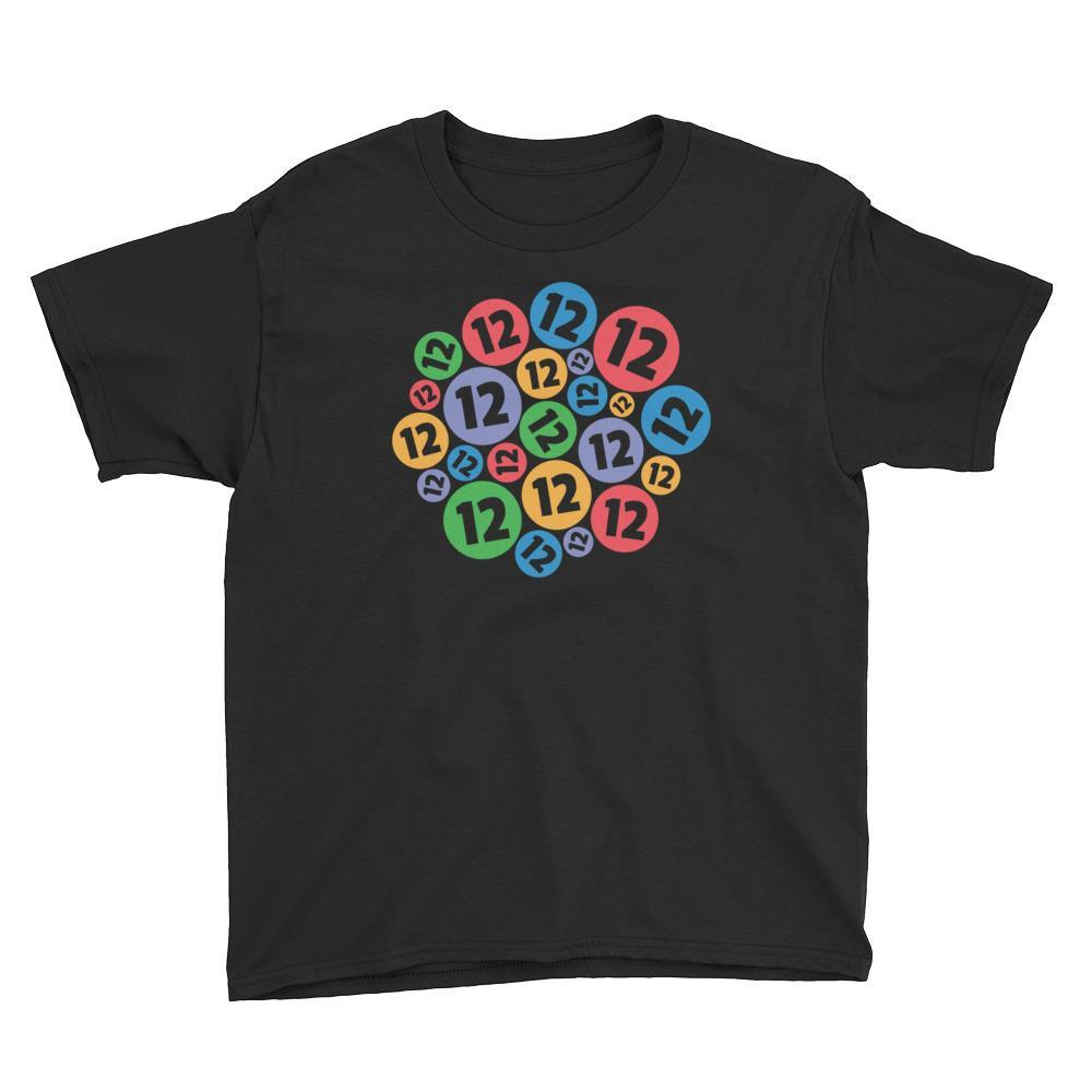 Colorful Bubbles - 12 Years Old Birthday T-Shirt Black / Youth XS