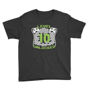 Level 10 Unlocked Birthday T-Shirt Black / Youth XS