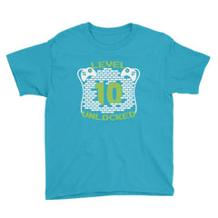 Level 10 Unlocked Birthday T-Shirt Caribbean Blue / Youth XS
