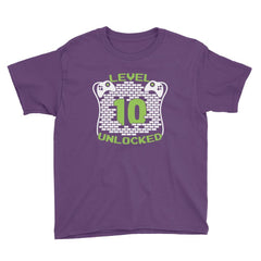 Level 10 Unlocked Birthday T-Shirt Purple / Youth XS