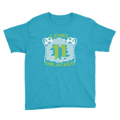 Level 11 Unlocked Birthday T-Shirt Caribbean Blue / Youth XS