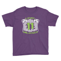 Level 11 Unlocked Birthday T-Shirt Purple / Youth XS