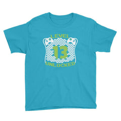 Level 13 Unlocked Birthday T-Shirt Caribbean Blue / Youth XS