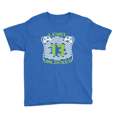 Level 13 Unlocked Birthday T-Shirt Royal Blue / Youth XS