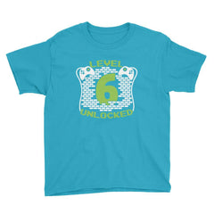 Level 6 Unlocked Birthday T-Shirt Caribbean Blue / Youth XS
