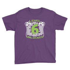 Level 6 Unlocked Birthday T-Shirt Purple / Youth XS