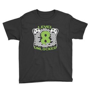 Level 8 Unlocked Birthday T-Shirt Black / Youth XS