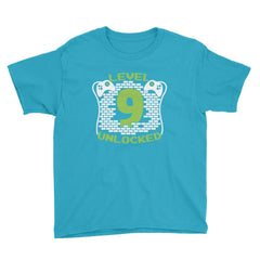 Level 9 Unlocked Birthday T-Shirt Caribbean Blue / Youth XS