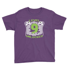 Level 9 Unlocked Birthday T-Shirt Purple / Youth XS