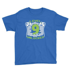Level 9 Unlocked Birthday T-Shirt Royal Blue / Youth XS