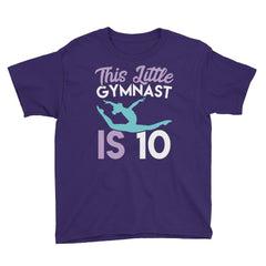This Little Gymnast is 10 Birthday T-Shirt Purple / Youth XS