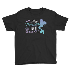 This Mermaid is 11 Years Old Birthday T-Shirt Black / Youth XS
